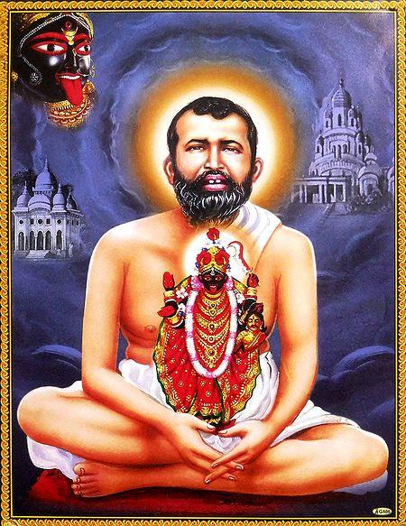 Shri Ramkrishna Sitting with Kali on his Lap