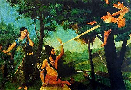 Lord Shiva's Anger Burning Kamadeva as Rati Looks on