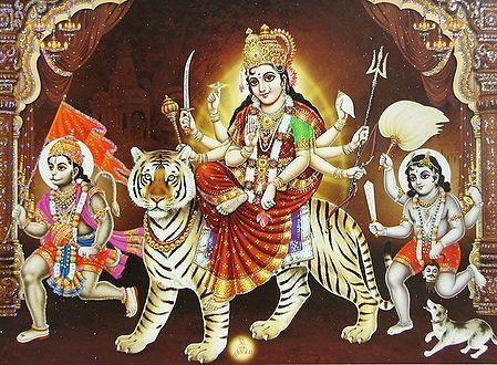 Bhagawati with Hanuman and Batuk Bhairav - Poster with Glitter
