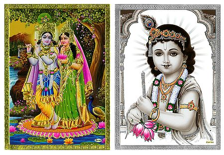 Radha Krishna and Krishna - Set of 2 Posters