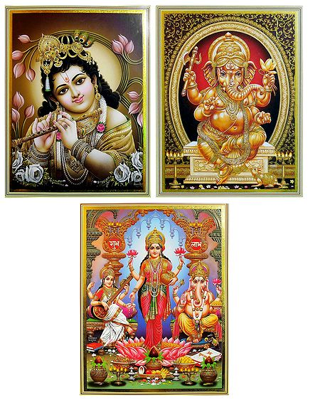 Lakshmi, Saraswati, Ganesha and Krishna - Set of 3 Posters