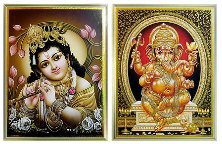 Krishna and Ganesha - Set of 2 Posters