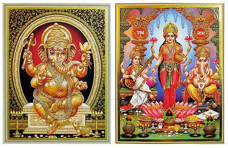 Lakshmi, Saraswati, Ganesha - Set of 2 Posters