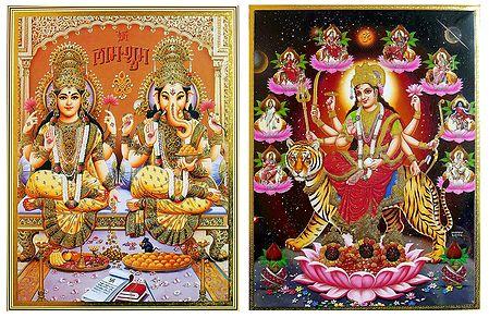 Lakshmi, Ganesha, Navadurga - Set of 2 Posters