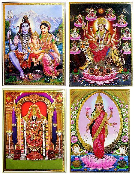Shiva, Parvati, Ganesha, Balaji, Navadurga, Lakshmi - Set of 4 Posters