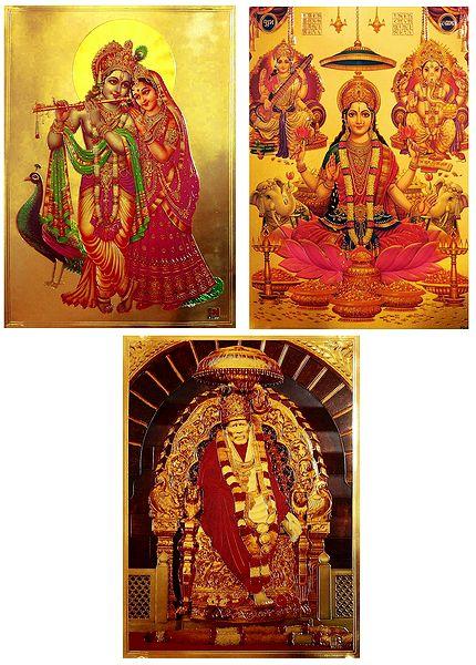 Lakshmi,Saraswati,Ganesha, Radha Krishna and Shirdi Saibaba  - Set of 3 Golden Metallic Paper Poster