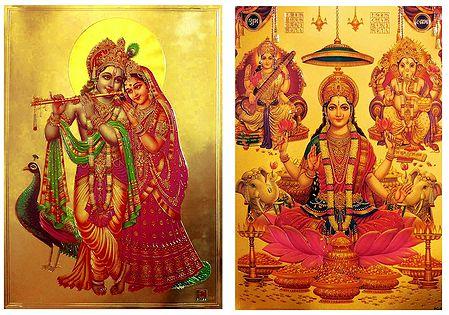 Lakshmi,Saraswati,Ganesha and Radha Krishna  - Set of 2 Golden Metallic Paper Poster