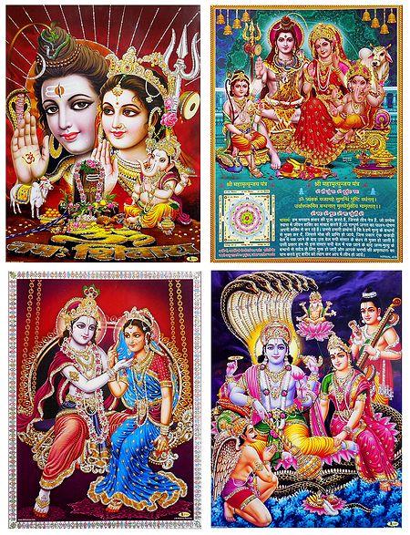 Shiva Parvati, Radha Krishna and Lakshmi Narayan - Unframed 4 Glitter Poster
