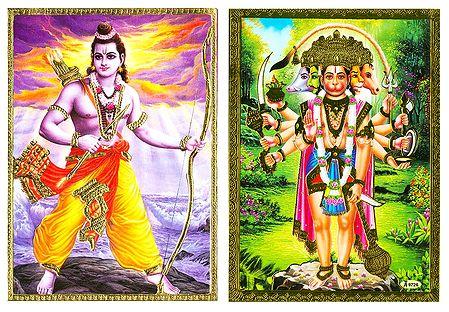 Lord Rama and Panchamukhi Hanuman - Set of 2 Posters
