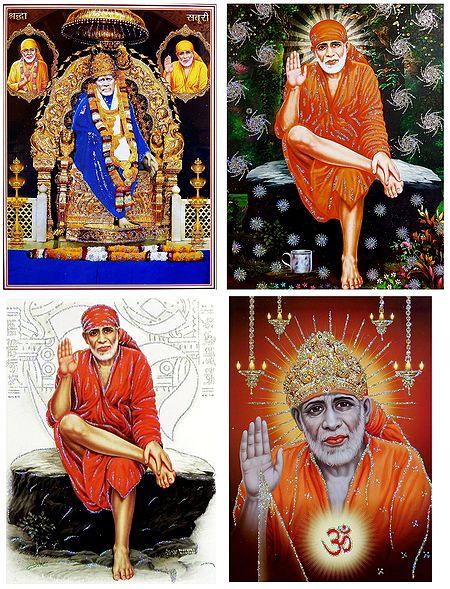 Shirdi Sai Baba - Set of 4 Glitter Poster