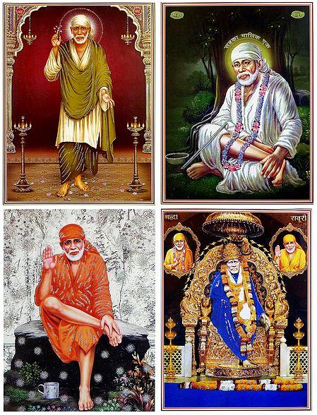 Shirdi Sai Baba - Set of 4 Glitter Posters