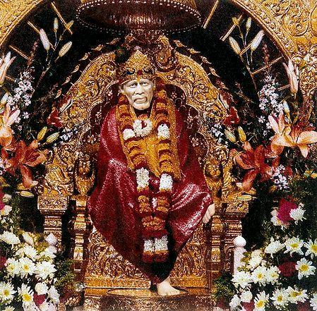 Shirdi Sai Baba in Red Robe Sitting on Throne