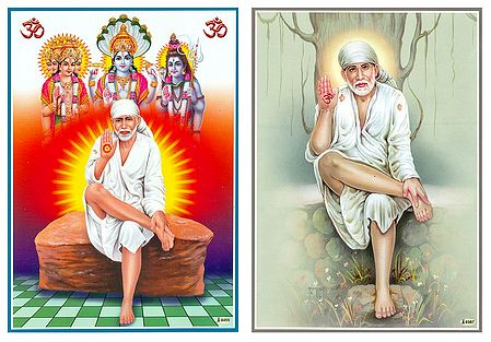 Shirdi Sai Baba - Set of 2 Laminated Posters
