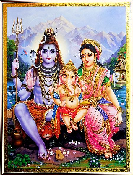 Shiva Parvati with Ganesha