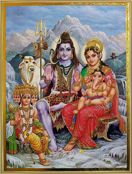 Shiva Parvati with Ganesha and Kartik