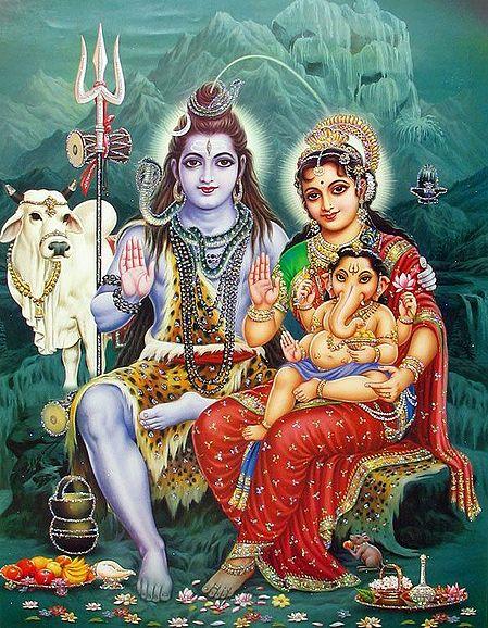 Shiva Sitting with Parvati, Ganesha and Nandi - (Poster with Glitter)
