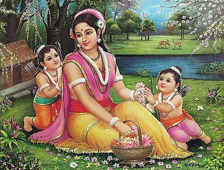 Sita with Luv and Kush