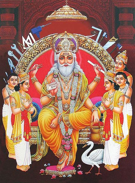 Vishwakarma - The Architect of Heaven (Poster with Glitter)