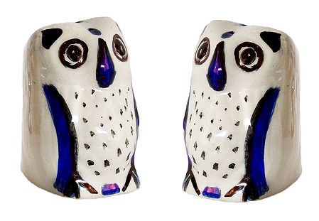 Set of 2 Ceramic Owl Incense Burner with 3 Holes