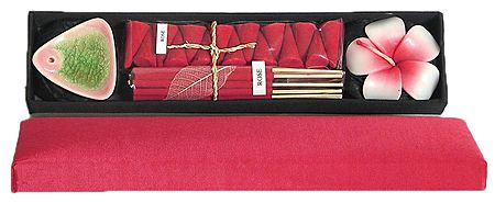 Flower Fragrance Incense Sticks and Incense Cones with Ceramic Holder and a Flower Candle