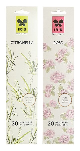 Set of 2 Incense Stick Packets with Citronella and Rose Fragrances