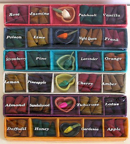 Twenty Four Different Fragrance of Incense Cones with Ceramic Holder