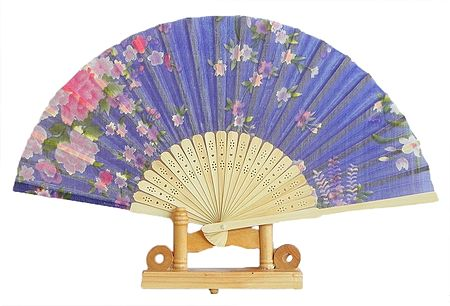 Floral Print on Mauve Silk Cloth Folding Fan with Stand