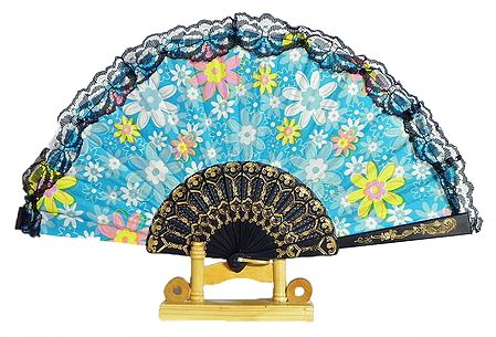 Floral Print on Blue Cotton Folding Fan with Stand
