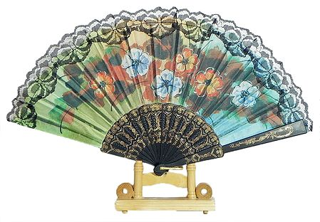 Multiclor Floral Print on Silk Folding Fan with Stand