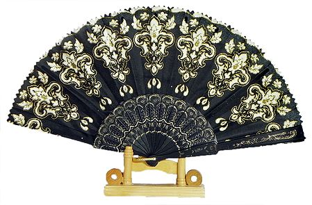 Glitter Design on Black Silk Folding Fan with Stand