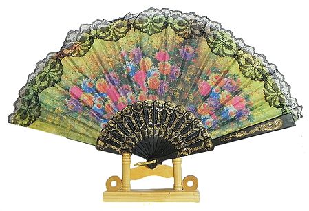 Floral Print on Yellow Silk Folding Fan with Stand