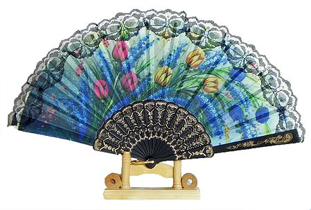 Multicolor Floral Print on Silk Folding Fan with Stand