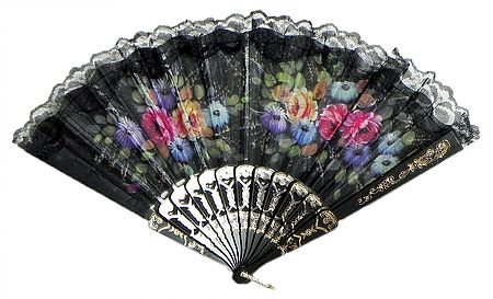 Multicolor Floral Print on Cloth Fan - Wall Hanging