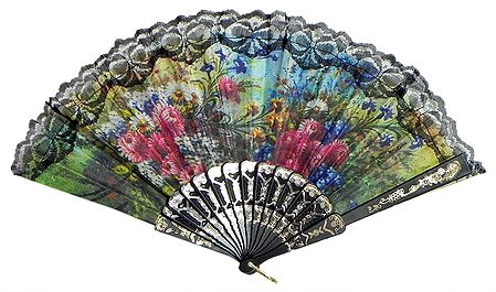 Floral Print on Cloth Fan - Wall Hanging