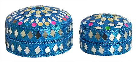 Set of 2 Decorated Metal Kumkum Containers