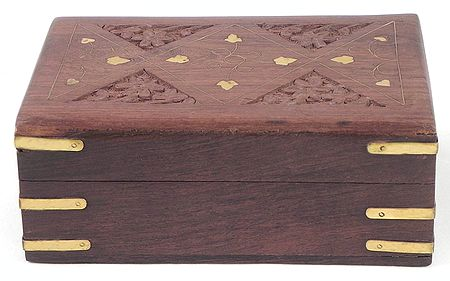Brass Inlay Wooden Jewelry Box
