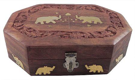 Brass Inlay Wooden Jewelry Box