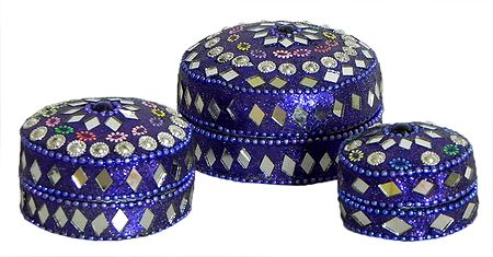Set of 3 Decorated Metal Kumkum Containers