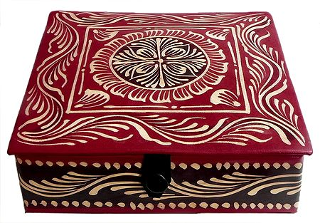 Hand Painted Leather Square Jewelry Box