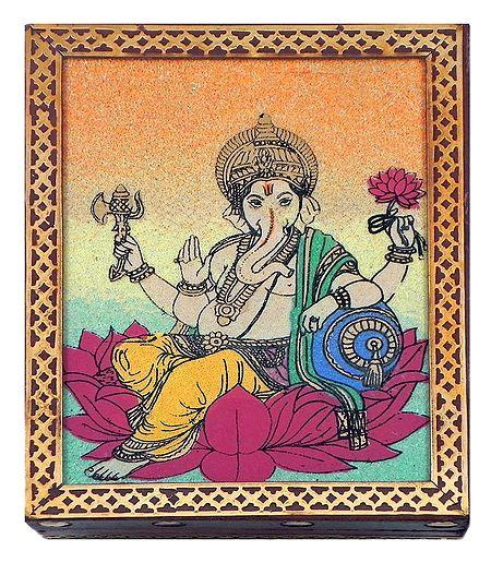 Ganesha - Jewelry Box with Gemstone Painting