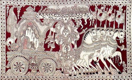 Krishna Showing His Vishvarupa to Arjuna During the Kurukshetra War of Mahabharata