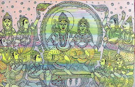 Vishnu and Laxmi Surrounded by Gods and Goddesses