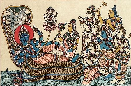 Vishnu with Lakshmi Protected by Seshnaga While Brahma Emerges on a Lotus from His Navel Surrounded by Gods and Goddesses