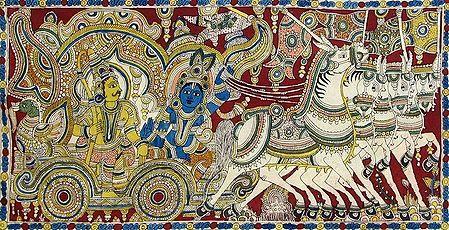 Krishna Arjuna on a Chariot during Kurukshetra War