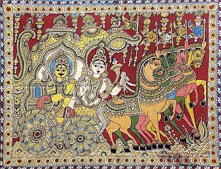 Krishna Preaching the Gita to Arjuna During the Kurukshetra War of Mahabharata