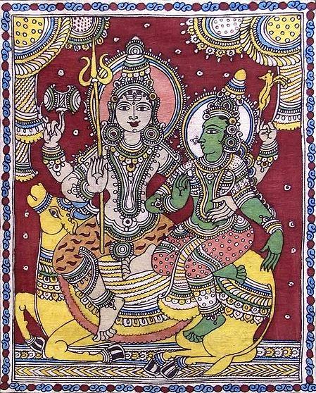 Shiva Parvati Sitting on a Bull