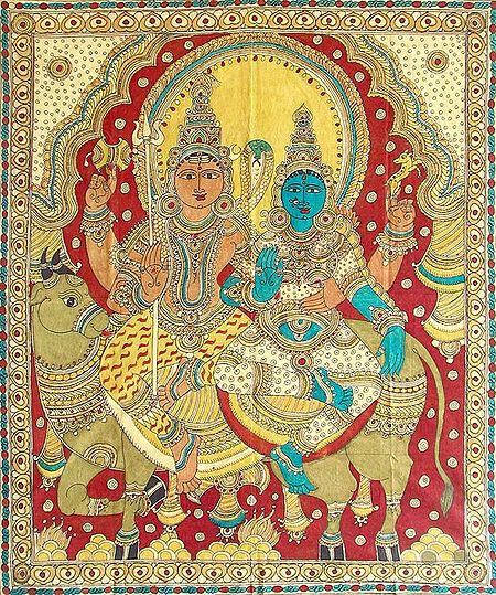 Shiva Parvati Sitting on Nandi