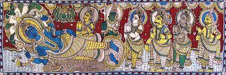 Vishnu in Anantashayan and Being Prayed by Gods and Goddesses