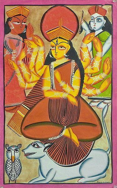 Goddess Durga with Lakshmi and Saraswati