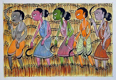 Villagers Harvesting Crops - Kalighat Painting